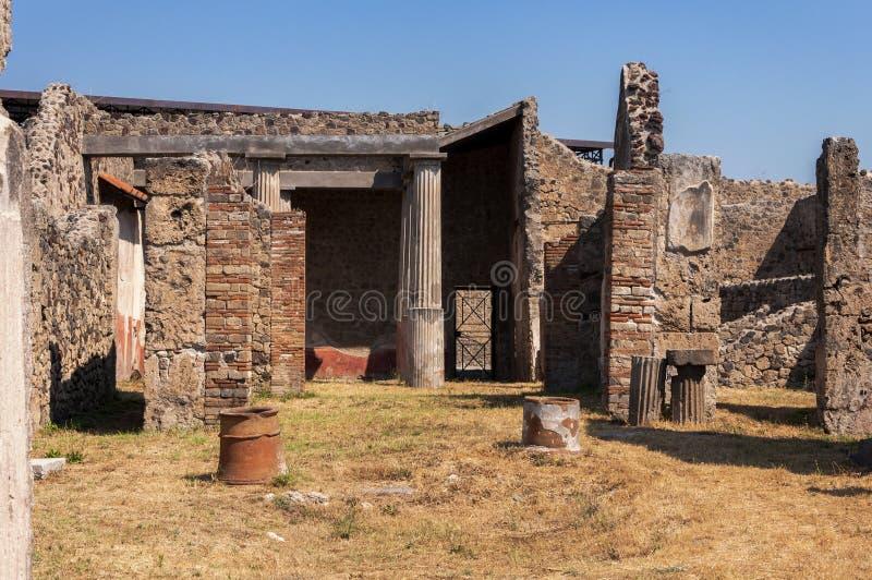 Pompeii. Roman Pompeii ruins, Houses in Regio VII stock images