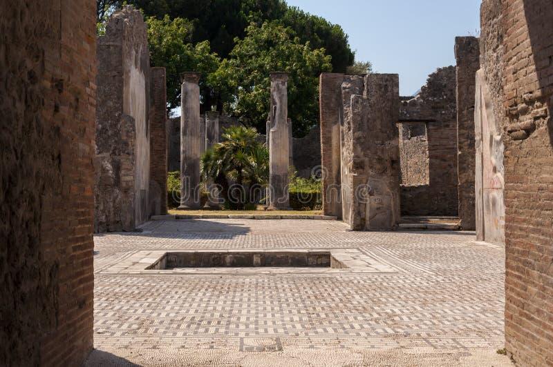 Pompeii. Roman Pompeii ruins, Houses in Regio VII stock photo