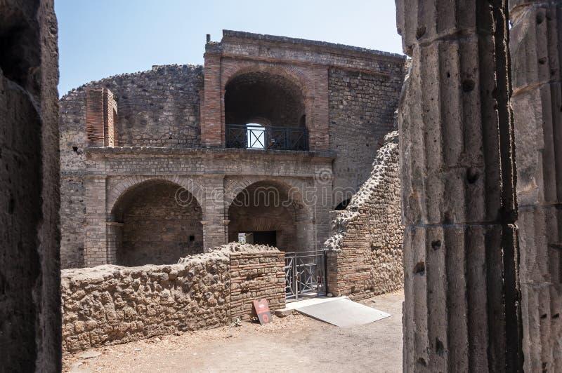 Pompeii. Roman Pompeii ruins, Large Theatre in Regio VIII stock image