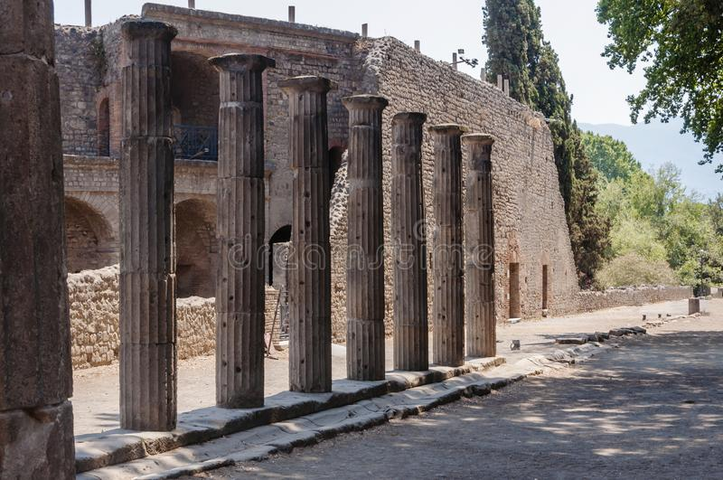 Pompeii. Roman Pompeii ruins, Triangolar Forum in Regio VIII stock images