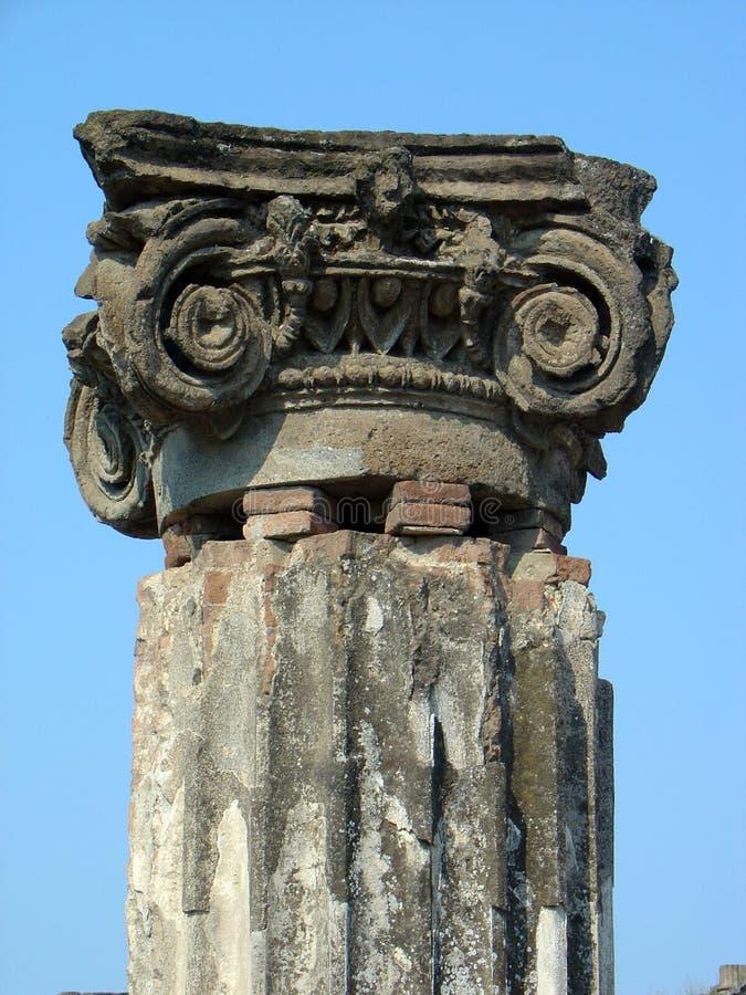 Pompeii ruined column. Close up of ancient column in Pompeii, Capri, Ialy stock images