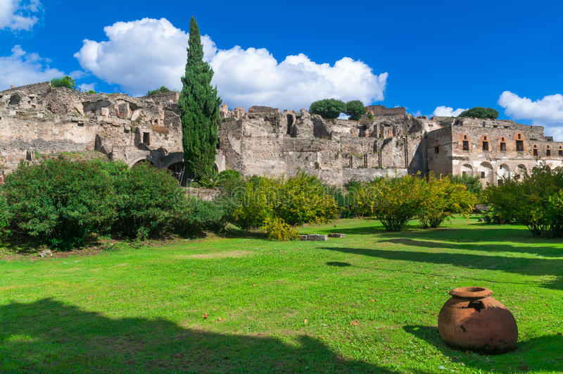 Pompeii, a ruined Roman city. Italy stock photography