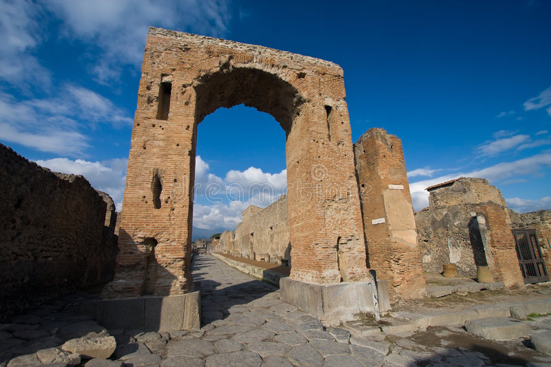 Pompeii ruins. And blue sky royalty free stock photos