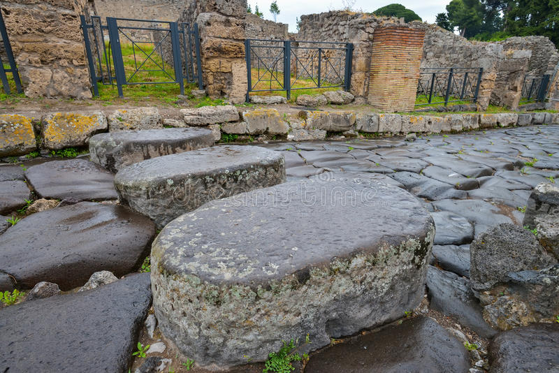 Pompeii ruins after the eruption of Vesuvius at Pompeii, Italy on June 01, 2016 royalty free stock photography