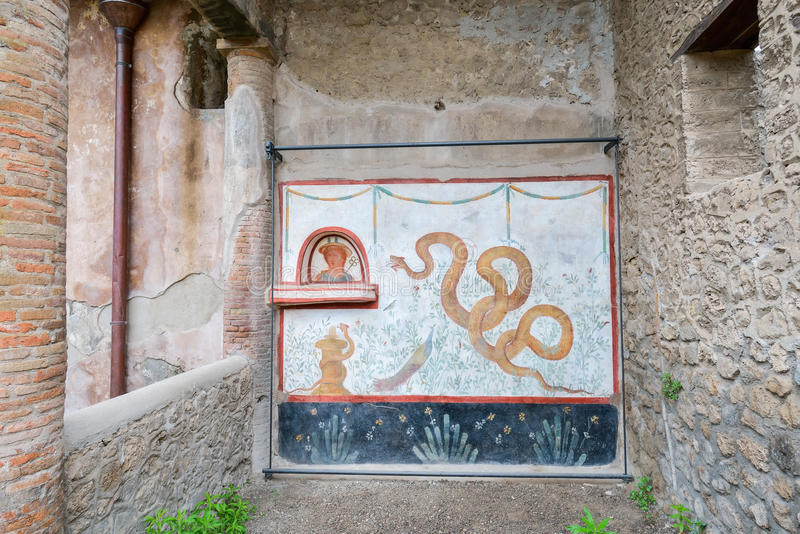 Pompeii ruins after the eruption of Vesuvius at Pompeii, Italy on June 01, 2016 royalty free stock image