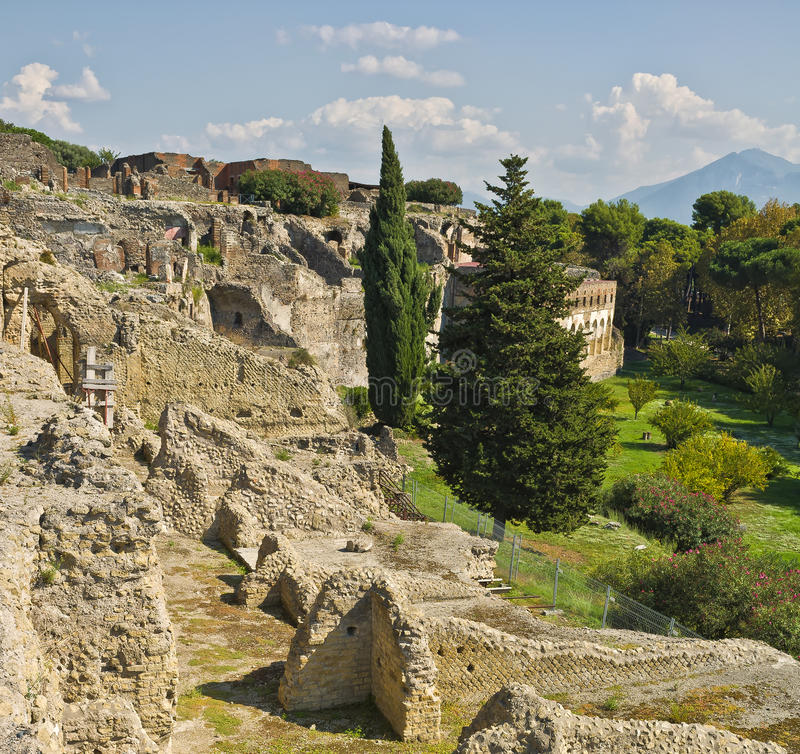 Pompeii Ruins, Italy. The ruins of the ancient Roman city of Pompeii, near Naples, Italy, destroyed during the eruption of the nearby volcano nearby Mt. Vesuvius royalty free stock photo