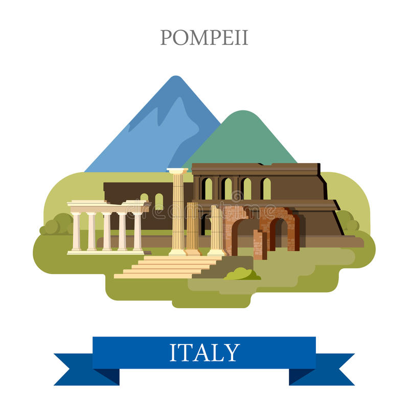 Pompeii Ruins in Italy flat vector attraction sight landmark. Pompeii Ruins in Italy. Flat cartoon style historic sight showplace point of interest web site vector illustration