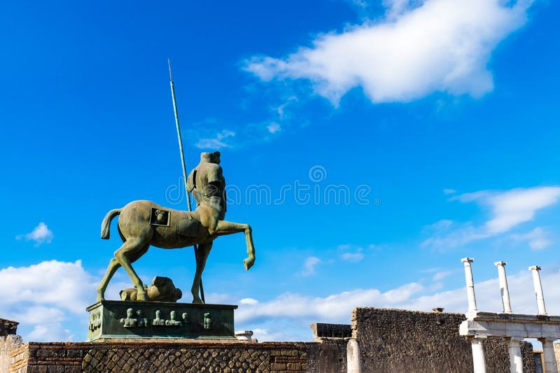 Pompeii statue of Centaur ancient roman city ruins destroyed by Vesuvius volcano stock photography