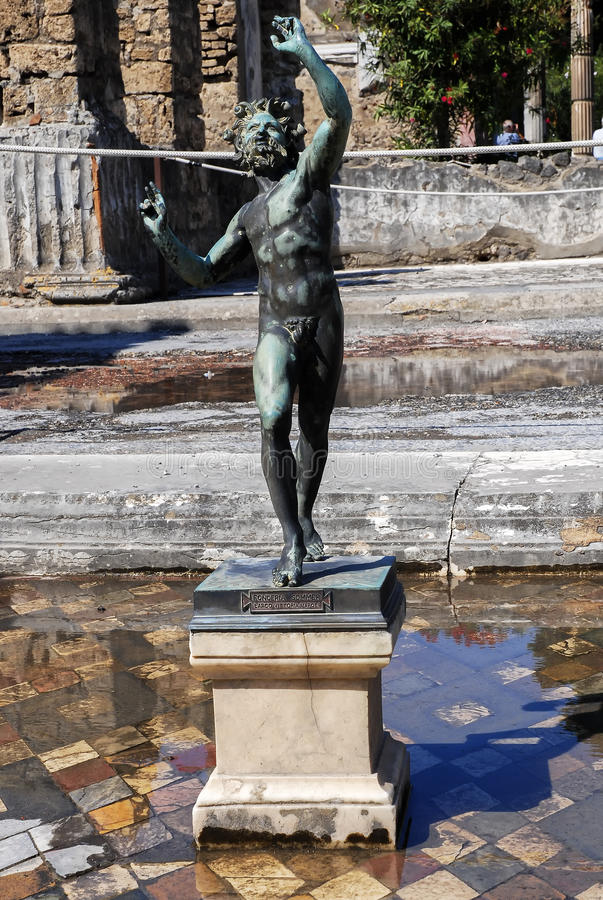Pompeii statue of the dancing satyr stock image