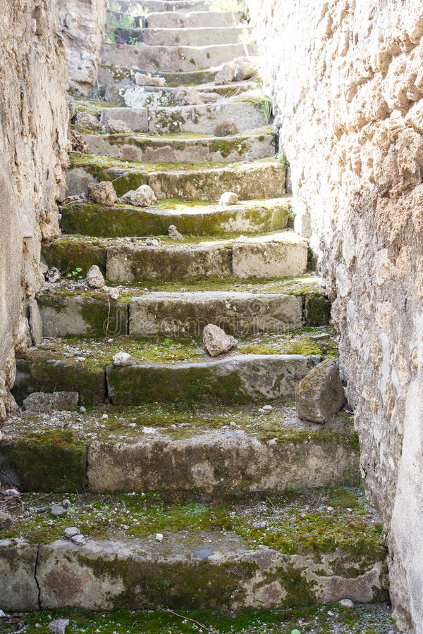 Pompeii Steps. Ancient crumbling steps in the ruins of Pompeii stock images
