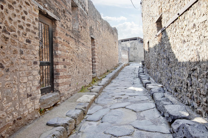 Pompeii. Street. Remains enormous destroyed by a volcano Vesuvius city Pompeii stock images