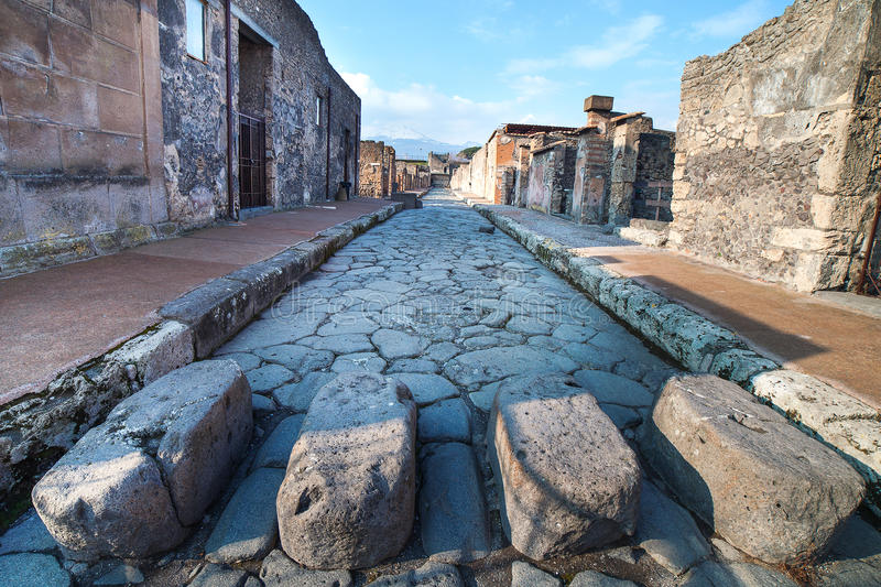Pompeii street, Italy. Street in ancient roman city Pompeii, Italy royalty free stock photo