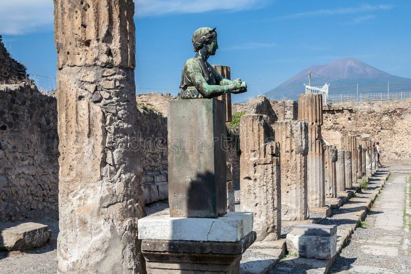 Pompeii Temple and Vesuvius stock photos