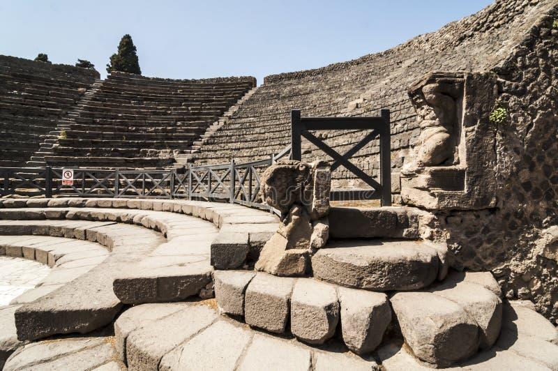 Pompeii Theater. View of the ruins of roman Theater in Pompeii, Italy stock photo