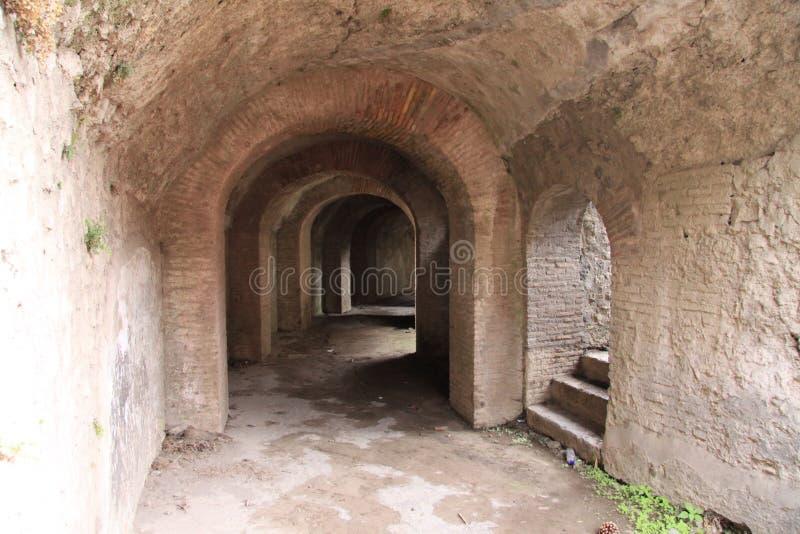 Pompeii. Underground passages in the ancient roman amphitheatre, Pompeii, Italy royalty free stock image
