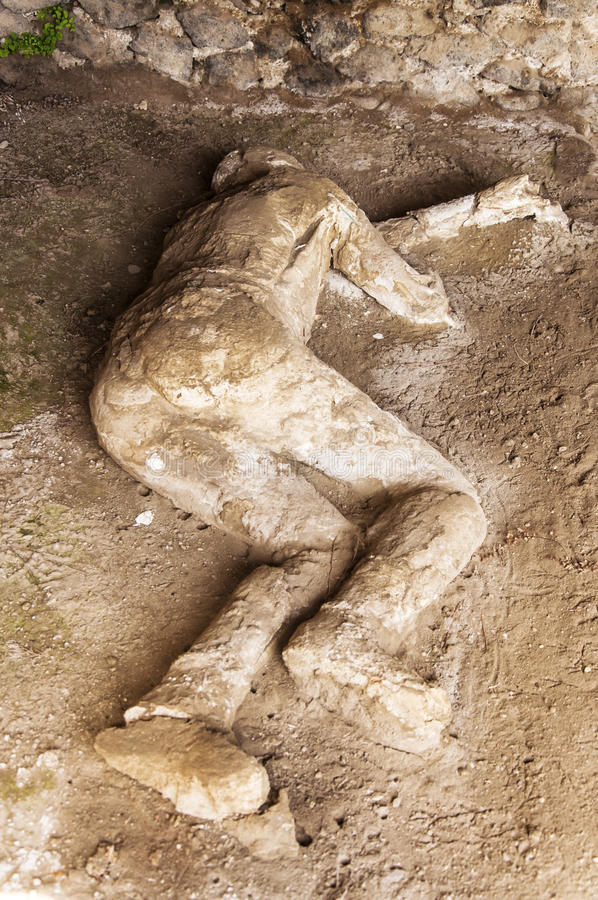 Pompeii victims. Body shapes of victims after the vesuvius eruptions, Pompeii, Italy stock photos