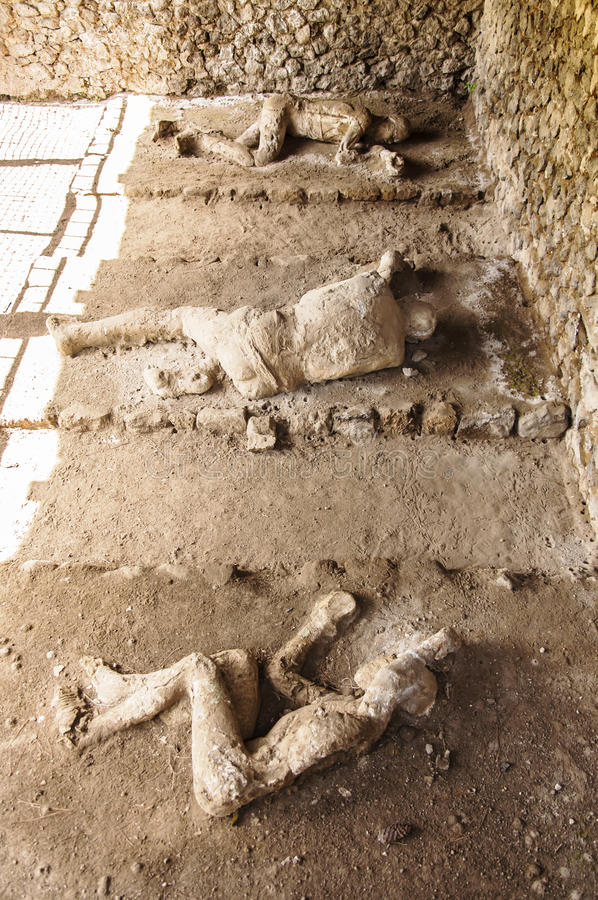 Pompeii victims. Body shapes of victims after the vesuvius eruptions, Pompeii, Italy royalty free stock photo