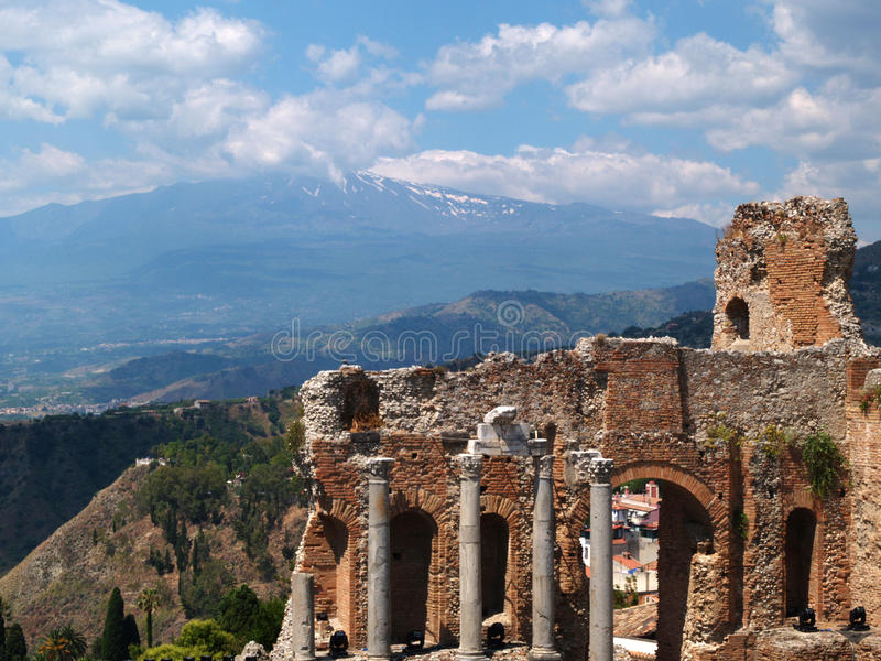 Pompeii. View of the Pompeii ruins and Vesuvius volcano in background royalty free stock photography