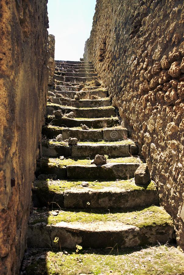 Stairways of Pompeii-I- Italy. Pompeii was an ancient city in Campania on the Gulf of Naples, which like Herculaneum, Stabiae and Oplontis was buried during the royalty free stock images