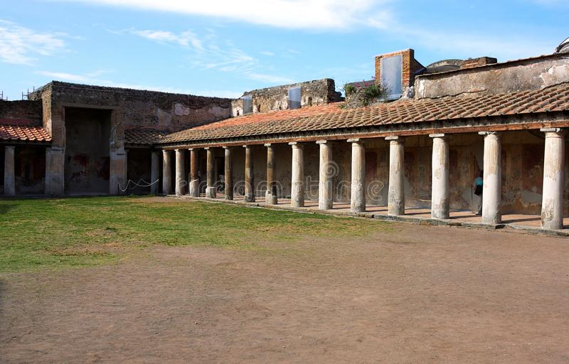 Stabian Spa II Pompeii. Pompeii was an ancient city in Campania on the Gulf of Naples, which like Herculaneum, Stabiae and Oplontis was buried during the stock photos