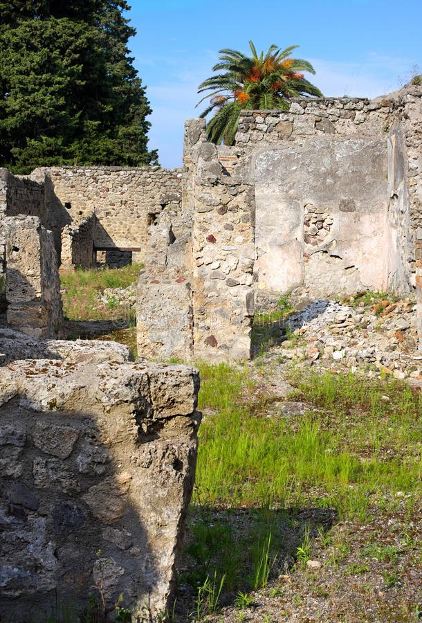 Backyards of Pompeii -X- Italy. Pompeii was an ancient city in Campania on the Gulf of Naples, which like Herculaneum, Stabiae and Oplontis was buried during the stock images