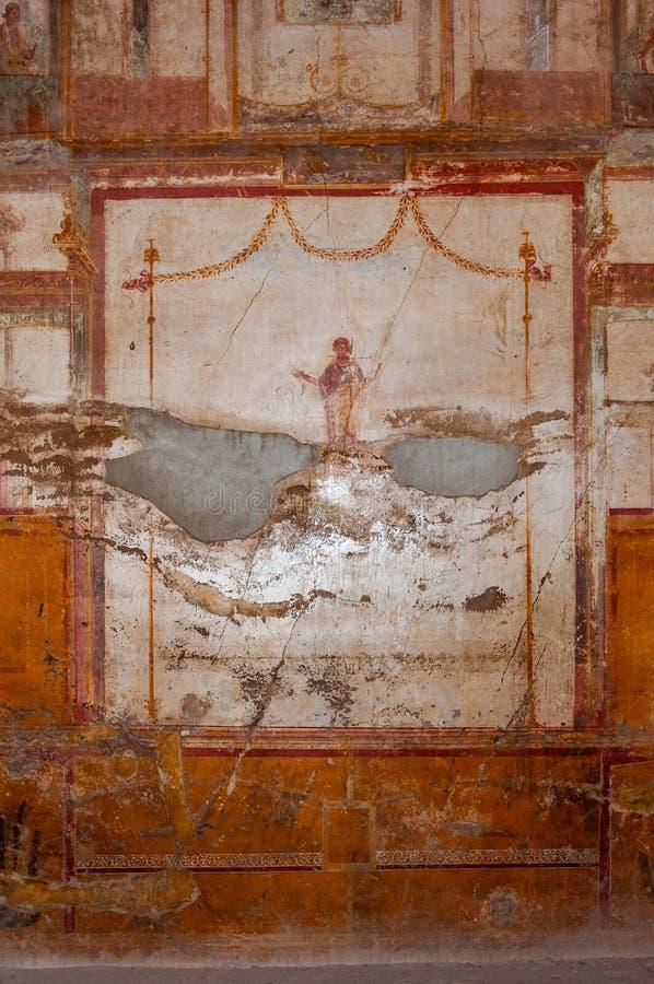 Pompeji, die beste konservierte arch?ologische Fundst?tte in der Welt, Italien Freskos auf der Innenwand zerst?rten zu Hause stockfotografie