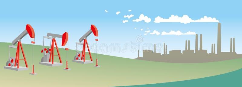 Pompes à huile avec la raffinerie illustration libre de droits