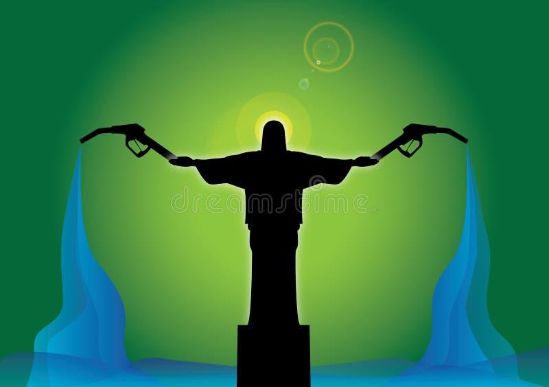Pompes d'essence de fixation de Jésus illustration de vecteur