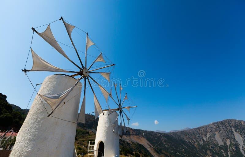 Pompes de vent en île de Crète, Malia photo stock