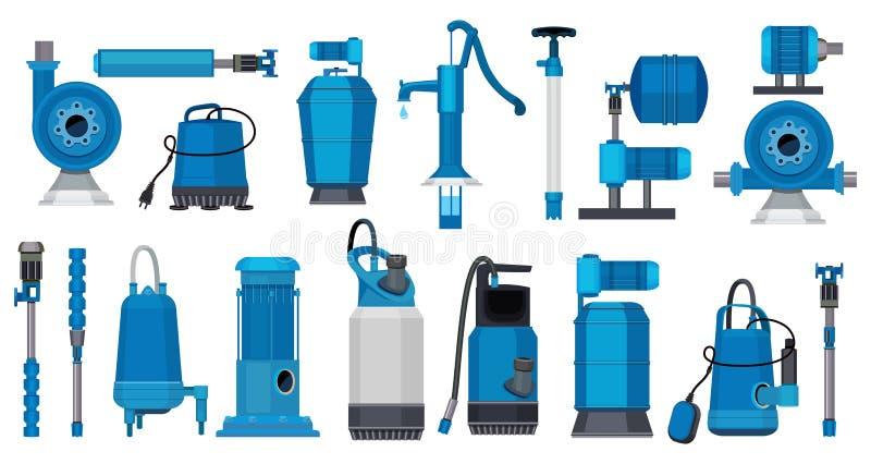 Pompes ? eau Les systèmes de moteur électrique de fer pompe l'eau de pompage industrielle ou les réservoirs de stockage de pétrol illustration de vecteur