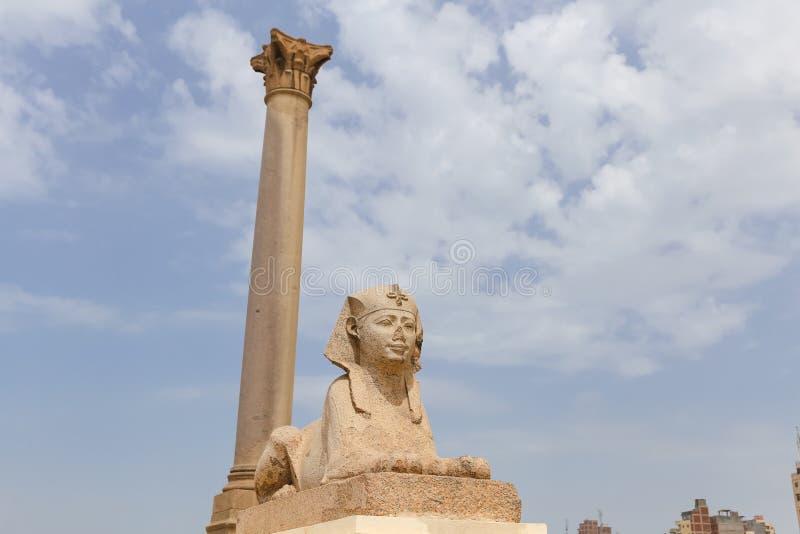 Pompey filar w Aleksandria, Egipt obrazy royalty free