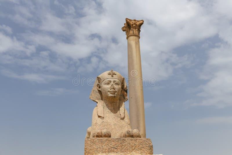 Pompey pelare i Alexandria, Egypten royaltyfri fotografi