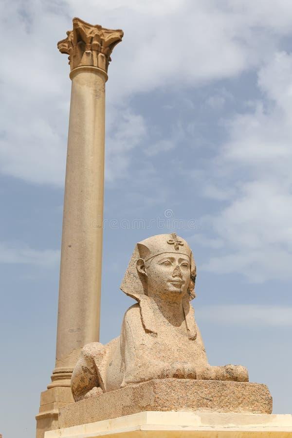 Pompey pelare i Alexandria, Egypten arkivbild