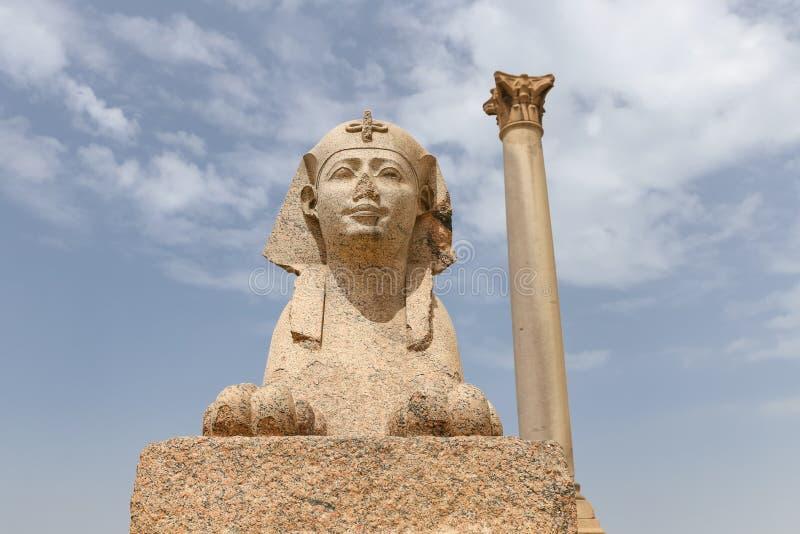 Pompey pelare i Alexandria, Egypten royaltyfri bild