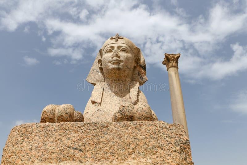 Pompey pelare i Alexandria, Egypten arkivbilder