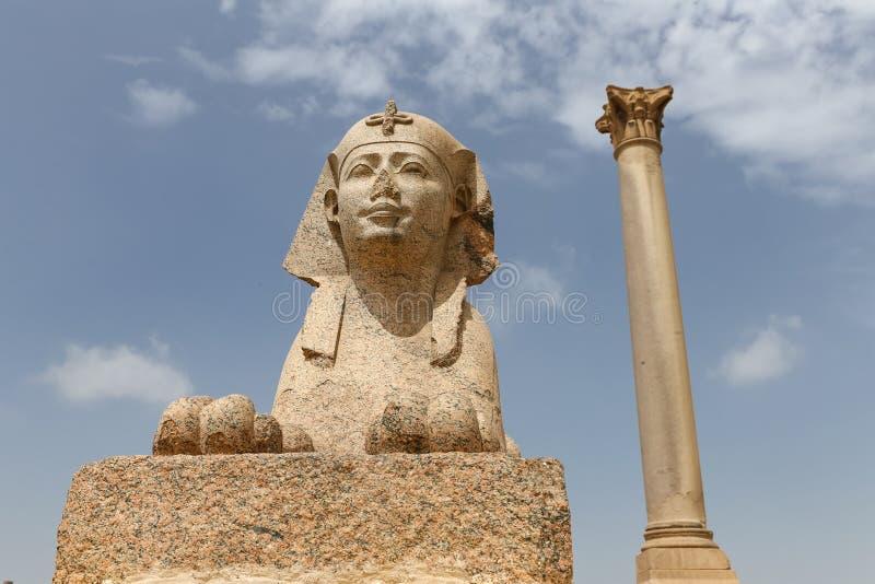 Pompey pelare i Alexandria, Egypten royaltyfria bilder
