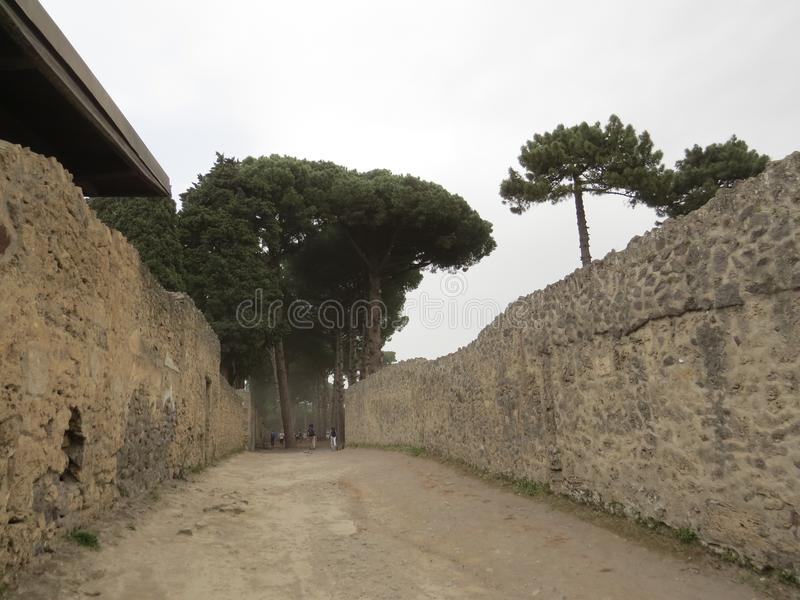 Pompey or Pompeii. Naples, Italy. Pompeii was an ancient Roman town-city near modern Naples, in the Campania region of Italy. It was mostly destroyed and buried royalty free stock images