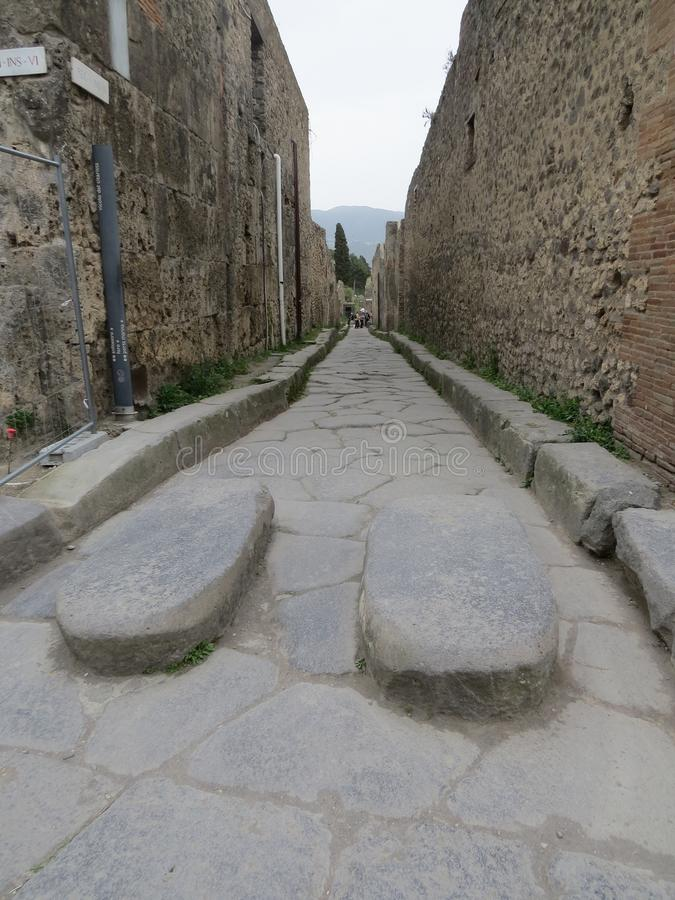 Pompey or Pompeii. Naples, Italy. Pompeii was an ancient Roman town-city near modern Naples, in the Campania region of Italy. It was mostly destroyed and buried royalty free stock photography
