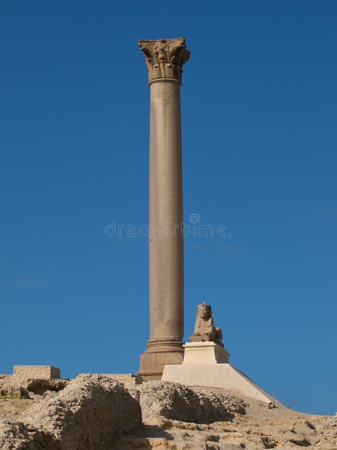 Pompey`s Pillar in Alexandria. Pompey Pillar - Roman ancient monuments in Alexandria (Egypt royalty free stock images
