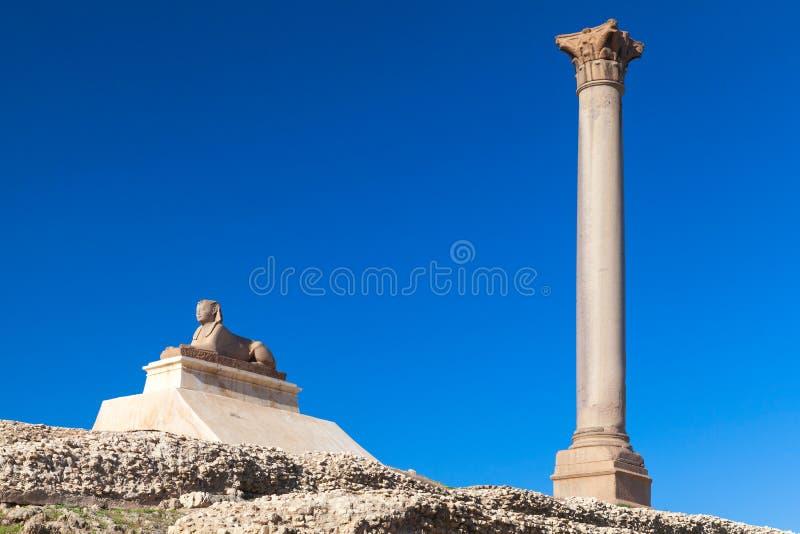 Pompeys filaru ans antyczny sfinks, Egipt zdjęcie stock