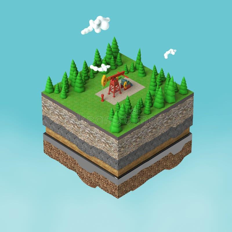 pompi la presa sulla piccola terra della fetta con gli alberi, le nuvole, la pietra del suolo di strati e l'olio macchina di indu illustrazione vettoriale