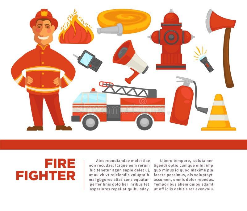 Pompier avec l'équipement de travail sur l'affiche promotionnelle illustration libre de droits