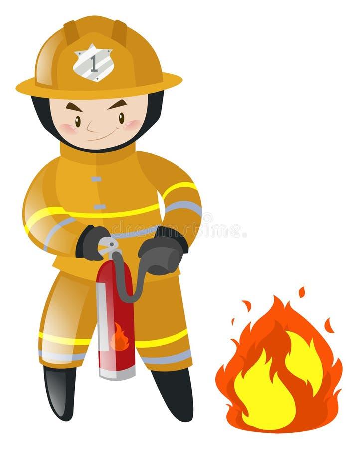 Pompier combattant avec le feu illustration stock
