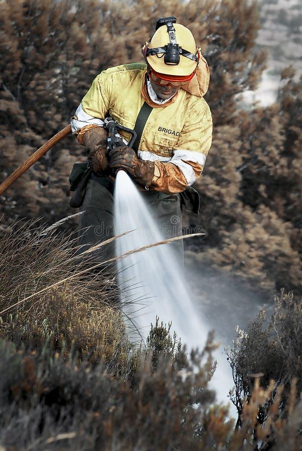 Pompier dans l'action images stock