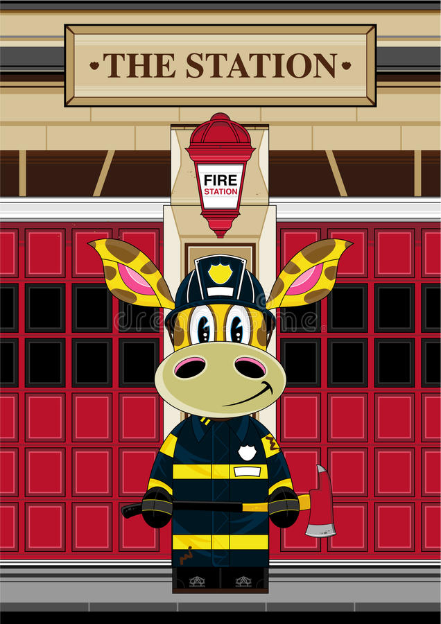 Pompier de girafe de bande dessinée illustration de vecteur