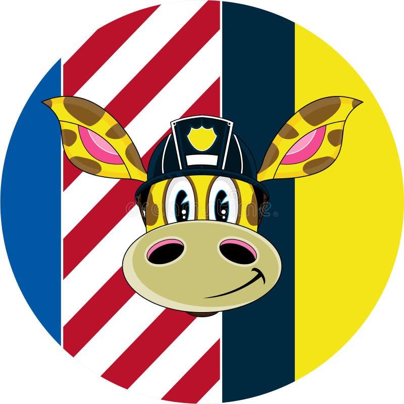 Pompier de girafe de bande dessinée illustration stock