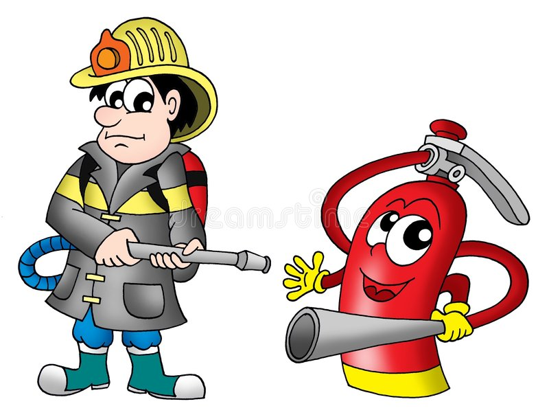 Pompier et extincteur illustration de vecteur