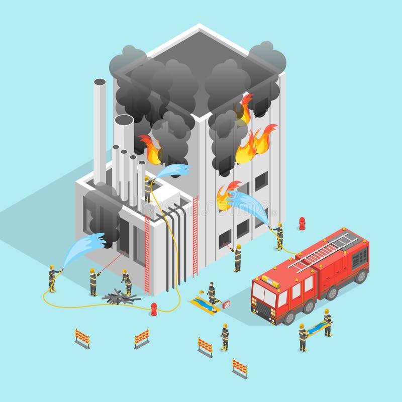 Pompiere e costruzione sulla vista isometrica di concetto 3d del fuoco Vettore royalty illustrazione gratis