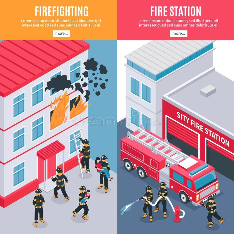 Pompiere isometrico Banners illustrazione vettoriale