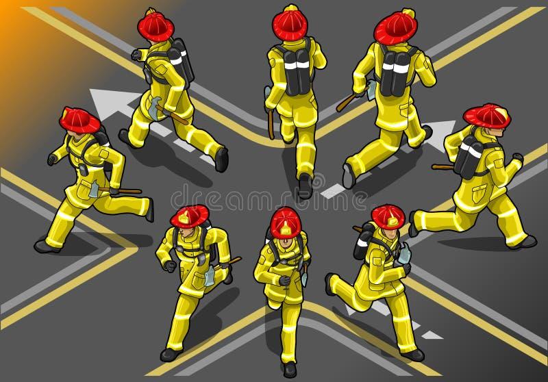 Pompiere isometrico del corridore nella posizione otto illustrazione vettoriale